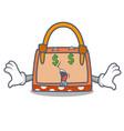 money eye hand bag mascot cartoon vector image vector image