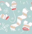 new year pattern mittens hats scarf snowflakes vector image vector image