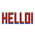 pixel hello red text detailed isolated vector image