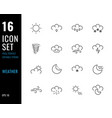 set 16 icons weather thin line style vector image