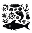 set black silhouettes shark fish shrimp vector image