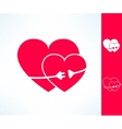 Set of two hearts with electric line with vector image vector image