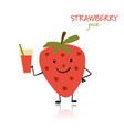 strawberry cute character for your design vector image vector image