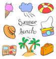 summer beach object of doodles vector image vector image