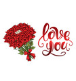 valentines day red roses bouquet scarlet vintage vector image