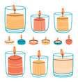 wax candles aromatic hand drawn decorative vector image vector image
