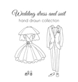 Wedding dress and suit Sketchy style vector image vector image