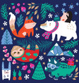 whimsical winter animal set polar bear vector image vector image
