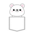 white bear head face in the pocket pink cheeks vector image vector image