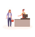 woman shopper with basket and seller at checkout vector image vector image