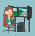 young woman playing video game with gaming wheel vector image vector image