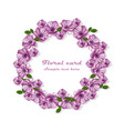 purple flowers wreath card frame vector image