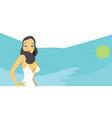 hot brunette woman in white swimsuit vector image