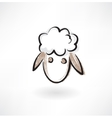 sheep head grunge icon vector image