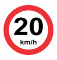 20 kmh speed limit vector image vector image