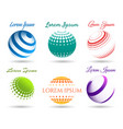 abstract 3d dot spheres logo set vector image vector image
