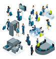 airport isometric icons set of reception and passp vector image