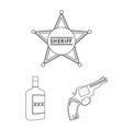 attributes of the wild west outline icons in set vector image vector image