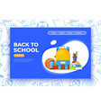 back to school banner backpack basketball ball vector image vector image