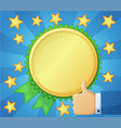 best choice symbol golden award icon thumb up vector image