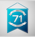 blue pennant with inscription seventy one years vector image vector image