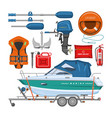 boat equipment motorboat yacht with life vector image