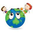 boys playing football on earth globe vector image vector image