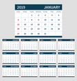 calendar planner 2019 template set of 12 month vector image