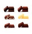 chocolate pieces realistic set vector image