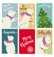 christmas card collection with polar bears and vector image vector image