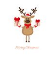 Christmas reindeer with gifts vector image vector image