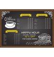 Coffee menu on chalkbaord vector image vector image