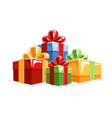 collection gift boxes in flat style vector image