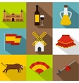 Country Spain icons set flat style vector image vector image