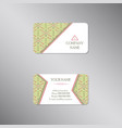 creative business card with tribal green ornament vector image vector image