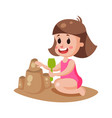 cute little girl playing with sand on a beach vector image vector image
