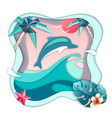 dolphin jumping out of the water on beach vector image