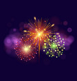 festive colorful fireworks on dark blue background vector image