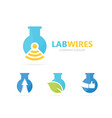 flask and wifi logo combination vector image vector image