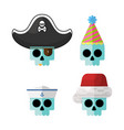 flat skulls in funny costume hats gr vector image