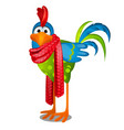 funny animated rooster in a red knitted scarf vector image vector image