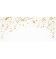 gold confetti isolated on transparent background vector image