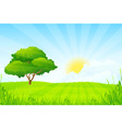 Green Landscape with clouds and sun and one Green vector image
