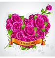 greeting card happy valentines day with roses vector image vector image