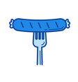 grilled sausage line icon vector image