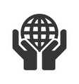 hands holding earth globe icon on white background vector image vector image
