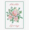 hello spring card with pink flower bouquet vector image