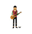 homeless man playing guitar on the street vector image