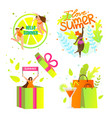 i love summer icons set with lettering summertime vector image