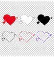 icon set of different hearts pierced with arrow vector image